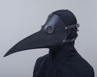 Leather long nose plague doctor mask