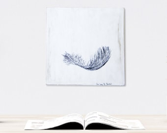 Print on wood, Feather print, Hipster room decor, Rustic wall art, Black and white illustration, Hostess gift, Thanksgiving gift