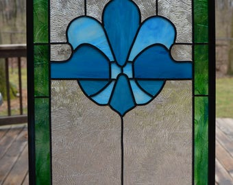 Leaded stained glass fleur de lis panel turquoise and green 27 x 12