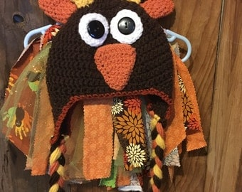 Thanksgiving, Fall Fabric Tutu and knit hat