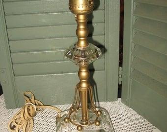 Lamp glass art deco Crystal in the years 40/50.Luminaire, lighting, brass.