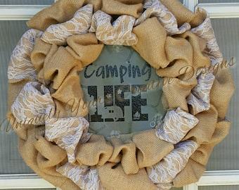 Camping Life Wreath, Happy Camper Wreath, Welcome Camp Sign Burlap Wreath, Lighted Burlap Wreath, Camper Decor, Summer Door Decor, RV Decor