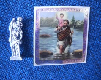 St. Saint Christopher Pocket Statue & Prayer Card