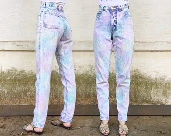 Vintage 80s Jack Mulqueen JM Jeanswear High Waisted Light Acid Wash Denim Rainbow Tie Dye Holographic Tapered Mom Jeans 25 x 31