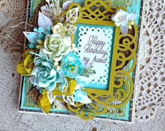 Beautiful Handmade Aqua and Green Shabby Chic Happy Birthday Greeting Card #WC2017A