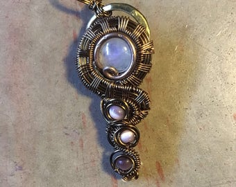 Moonstone with pink cats eye