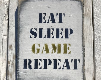 Eat Sleep Game Repeat Gaming Playstation Xbox Quote Sign Teenager Gift For Him xbox360 Sign Teenage Son Birthday Gift PS4 Boys Bedroom Sign