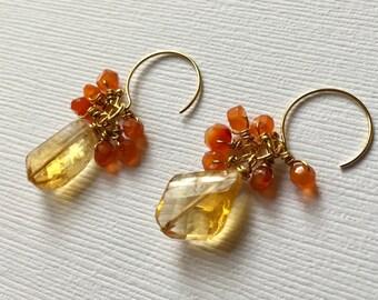 Citrine Orange Carnelian Gemstone Gold Wire Wrapped Handmade Earrings