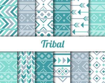 Tribal Digital Paper - Blue Gray Teal - aztec patterns, arrows, tribal designs - 12x12, 8.5x11