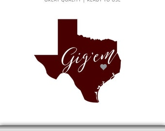 Texas A&M Outline Graphic - Aggies -Gig'em - DXF - SVG - 7 Files Total - Digital Download - Ready to Use!