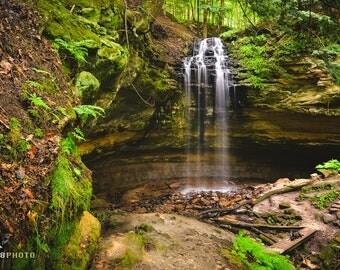 Michigan, Waterfall Photo, Tannery Falls, Travel Gifts, Nature Photography, Boho Decor, Landscape Print, UP Michigan, Wilderness Explorer