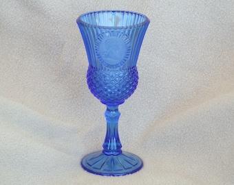 Vintage Avon Fostoria Blue George Washington Water Goblet