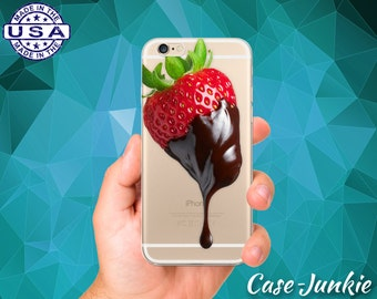 Chocolate Covered Strawberry Fruit Berry Red Tumblr iPhone 5 iPhone 5C iPhone 6 iPhone 6s iPhone 6s Plus and iPhone SE iPhone 7 Clear Case