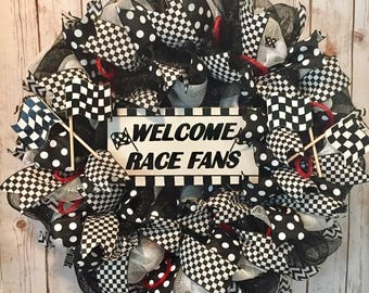 Indy 500 wreath, Indy 500 decor, NASCAR wreath, NASCAR decor, racing wreath, race car wreath, checkered flag wreath, racing decor, flags