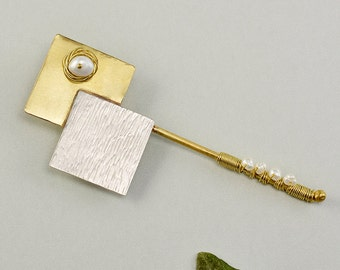 Geometric long pin, sterling silver pin, fashion jewelry,pearl brooch,mixed metals pin,gold tone jewelry,square big pin, anniversary gift
