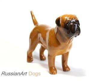 Bullmastiff, mastiff dog ceramic figurine handmade statuette