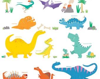 Decowall DW-1703 Colourful Dinosaur Wall Stickers