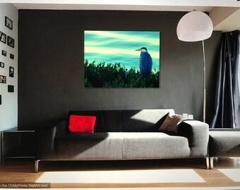 Blue Heron Bird, Wall Art, Canvas Print