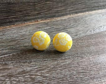 Yellow Floral Fabric Button Earrings