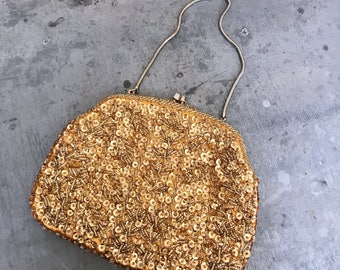 Beaded wedding purse, sequin purse, vintage wedding purse, evening bag, vintage beaded bag, gold beaded bag, orange beaded bag, vintage bag