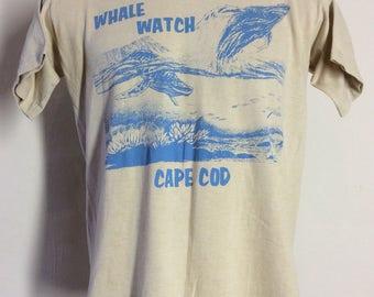 Vtg 70s 80s Whale Watch Cape Cod T-Shirt Beige M/L Vacation Souvenir