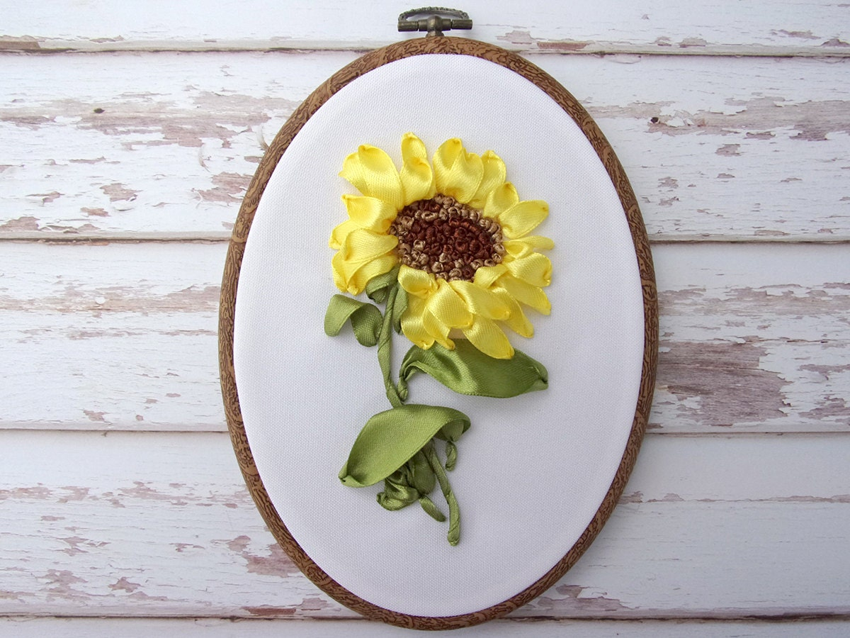Ribbon Embroidery Wall Hanging Hoop Art Hand Flower Decoration