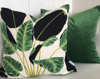 Sumptuous jade velvet plant cushion cover