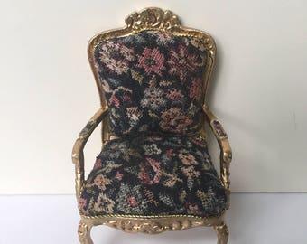 Dollhouse Miniature Petit Point Gold Louis XV Chair
