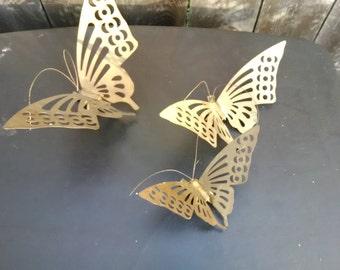 Three (3) Brass Butterflies