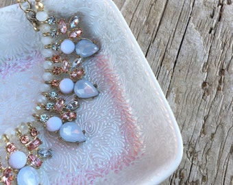 Hand Painted Jewelry Dish (pearl white with pink border)