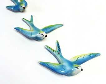 Vintage Chalkware Blue Green Swallow Flying Blue Birds Hanging Swallows Ceramic Wall Decorations