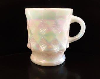 Vintage Fire King Aurora Borealis Pearl Lustre Kimberly Mug