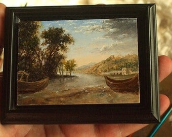 ACEO Original, Miniature Landscape Painting, Seascape, ACEO Masterpiece, Classical Painting, Oil Painting, David Smith Landscape Painting