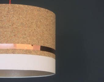 Handmade cork drum lampshade with copper detail and hand painted stripe