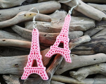 Pastel Pink Eiffel Tower Earrings Kawaii France Paris French Ooh La La