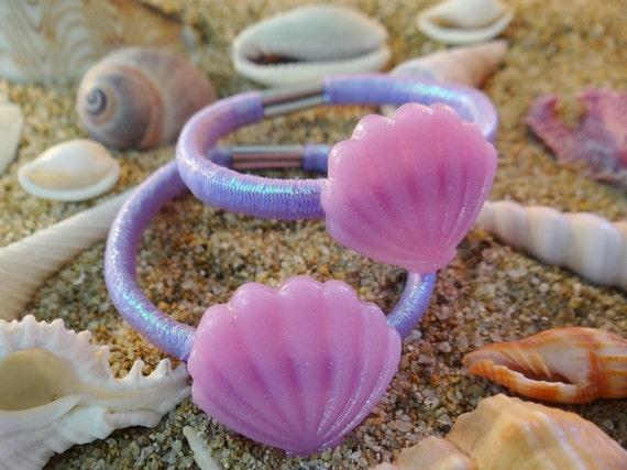 Shell Seashell Hair Tie Ties Set Clam Clamshell Iridescent Pony Tail Holder Im I'm really a mermaid Accessory Kawaii Kids Childrens Girls