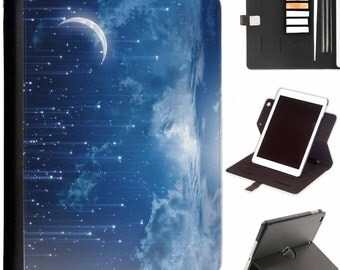 Mystic stars falling Apple ipad 360 swivel i pad leather case cover with card slots