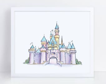 Disney Castle | Fine Watercolor Art | Sleeping Beauty's Castle | Watercolor Painting | DIGITAL DOWNLOAD | 8x10 dimensions | 3000x2400 pixels