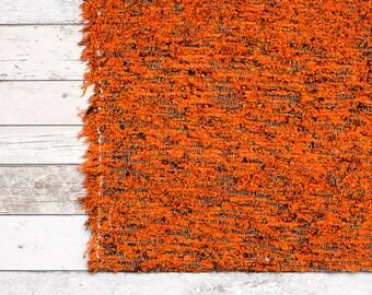 Orange Rug, 90x150 cm. (3' x 5'), Area rug, Bedroom rug, Bohemian rug, Kid rugs, bathroom mat, Handwoven | Eco-Friendly | Washable.