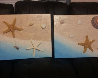 Two (2) Tropical Beach Canvases with Real Shells and Starfish