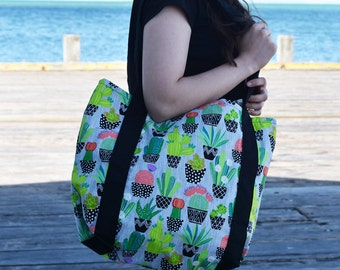 Large Potted Cacti Beach Bag Tote Bag