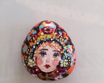 Matryoshka painted Pebble