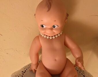 "Vintage Cameo Cupie Kewpie 12"" Adorable Doll Rubber Turnable Head"