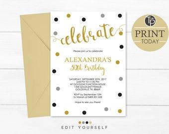 30th Birthday Invitation, Instant Download Invitations, Gold 30th Birthday Invitation, Confetti 30th Invitation, Adult Invitation