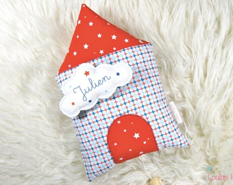 Music box House cloud with personalized name - Red, blue and white - organic cotton and oeko-Tex