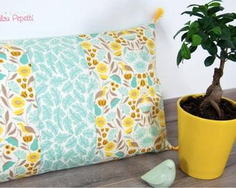Cushion cover with PomPoms - Bohemian floral Theme - colours yellow and Mint - organic cotton