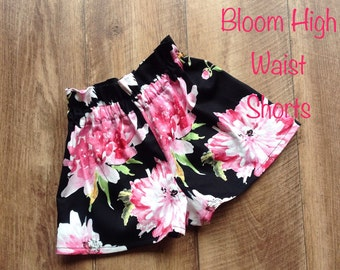 Girls Shorts High Waisted Size 4 Bloom Floral