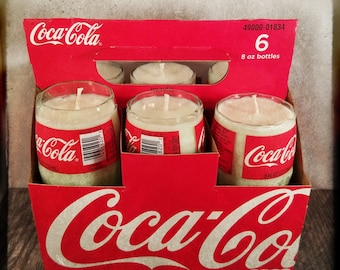 Miniature Coca-Cola Coke Soda Bottle Candle, Cola Scented! Single, or 6 pack! Hand cut, Hand Polished, Maine made