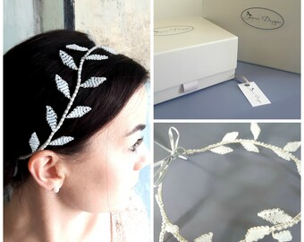 Beaded Leaf Bridal Wedding Headband/Hairband by Jenoco Design