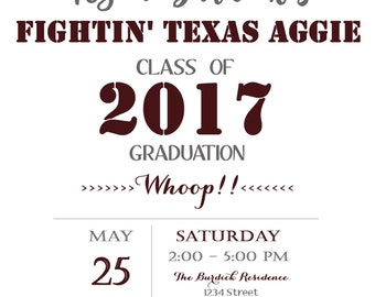 Aggie Graduation Party Invitations